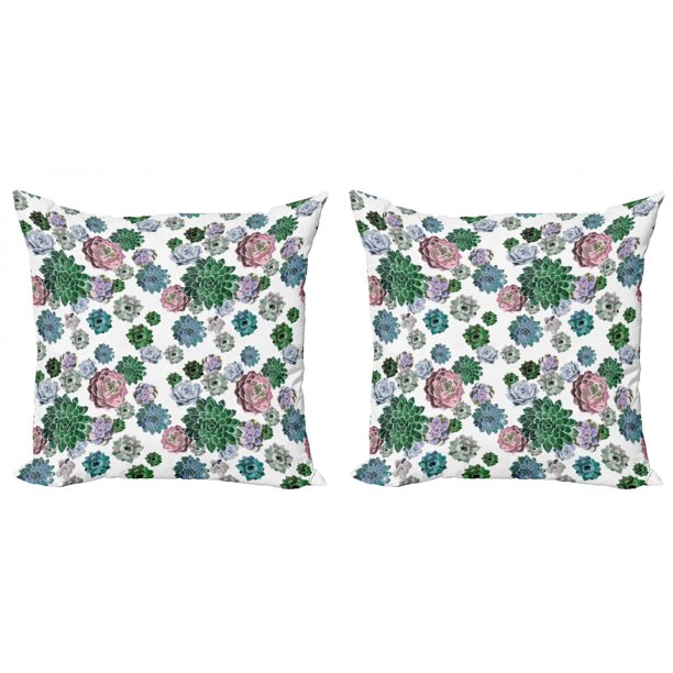 Cactus Throw Pillow Cushion Cover Pack Of 2 Colorful Pattern Of Succulent Plants Tropical Exotic Foliage Natural Garden Design Zippered Double Side Digital Print 4 Sizes Multicolor By Ambesonne Walmart Com Walmart Com