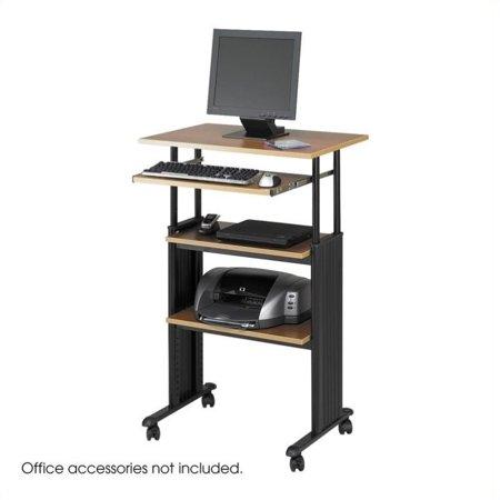 Light Oak Half Height Door - Scranton & Co Standing Height Adjustable Workstation in Medium Oak