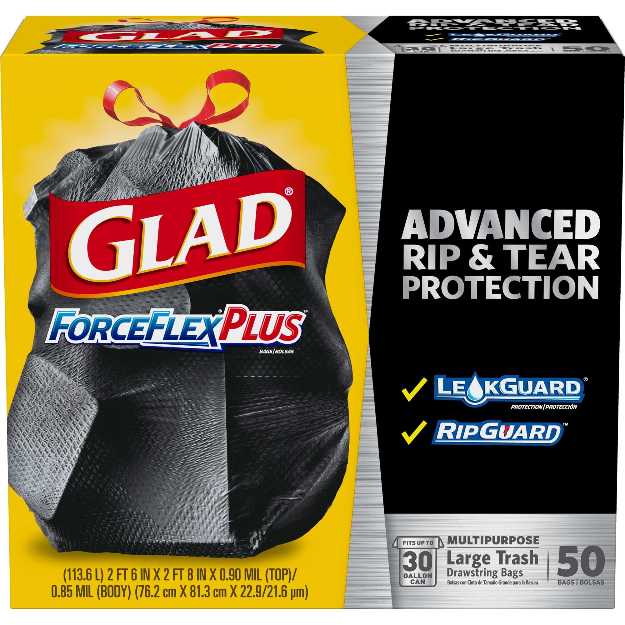 Glad ForceFlexPlus Drawstring Large Trash Bags - 30 Gallon - 50 ct