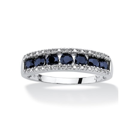 1.05 TCW Round Genuine Blue Sapphire and Diamond Accent 10k White Gold (Genuine Blue Sapphire Stone)