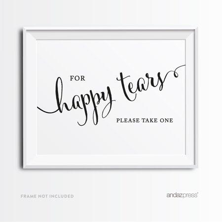 For Happy Tears Tissue Formal Black & White Wedding Party Signs (Happy Tears)