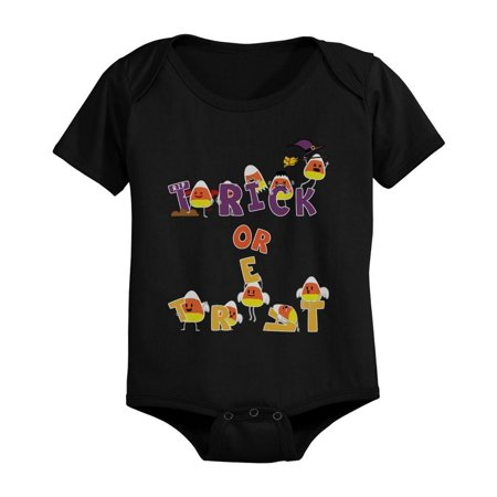 Trick or Treat Cute Candy Corn Baby Snap On One Piece Infant Black Onesies for Halloween