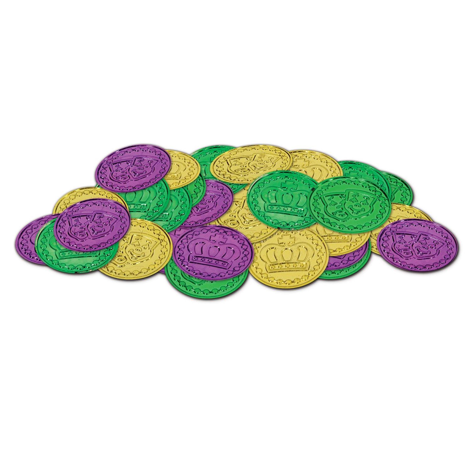Club Pack of 1200 Metallic Green, Gold and Purple Mardi Gras Coin Party Favors 1.5''