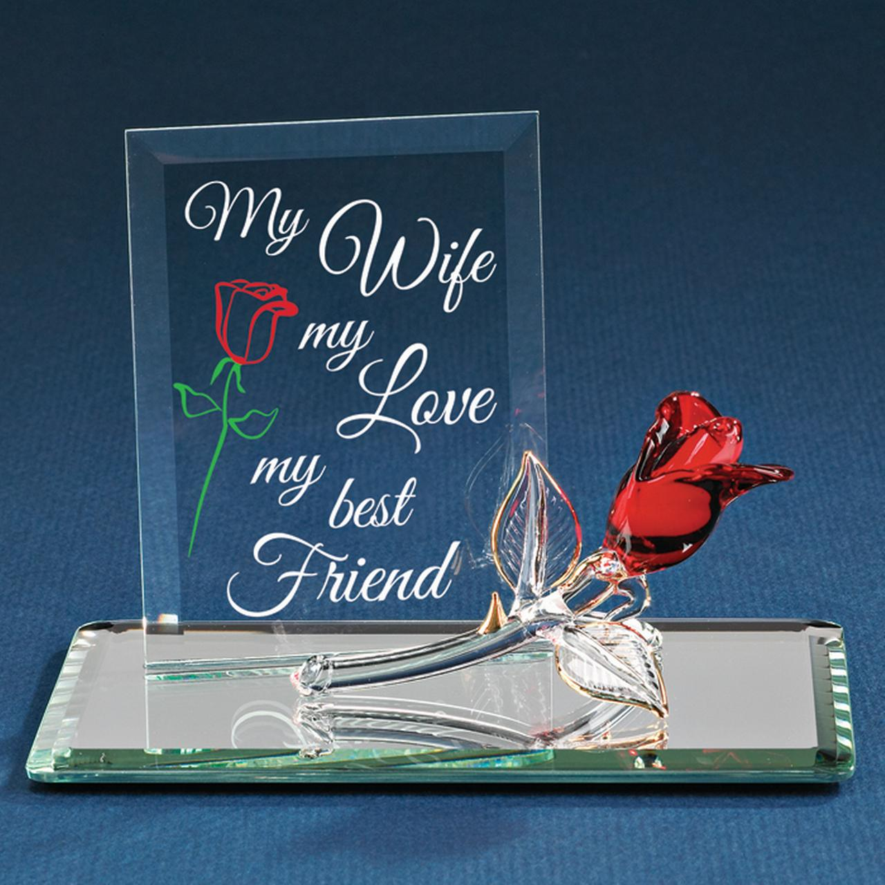 My Wife Best Friends Bestfriend Friendship Red Rose Glass Figurine Glas Baron Love Gifts For Women For Her