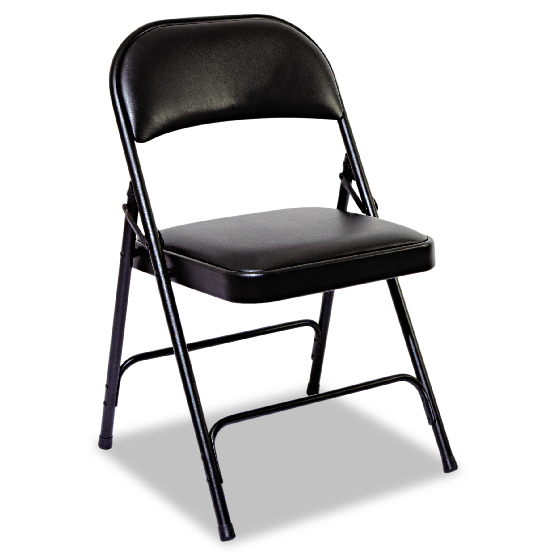 Alera Steel Folding Chair with Two-Brace Support, Padded Back Seat, Graphite, 4 Per Carton by ALERA
