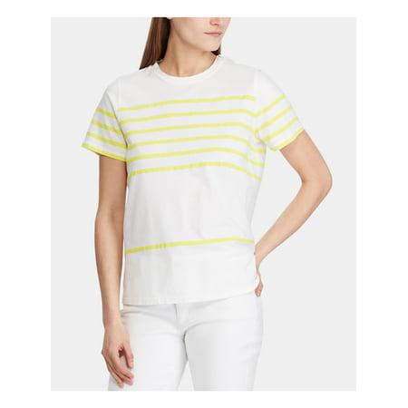 RALPH LAUREN Womens Yellow Striped Crew Neck T-Shirt Top Size PXS