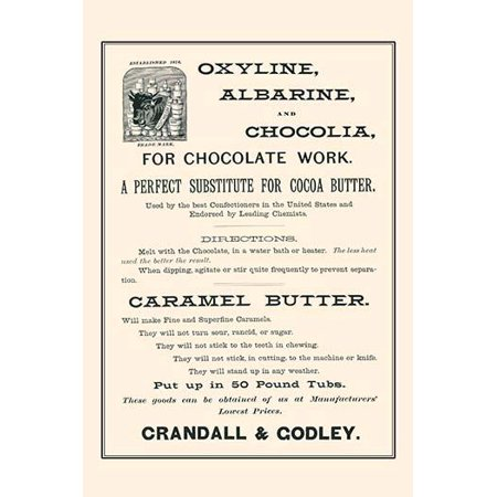 Page from the wholesale catalog  of Crandall & Godley manufacturers importers and jobber of bakers confections and hotel supplies  Based in New York city  Selling a cocoa butter substitute Poster Prin ()