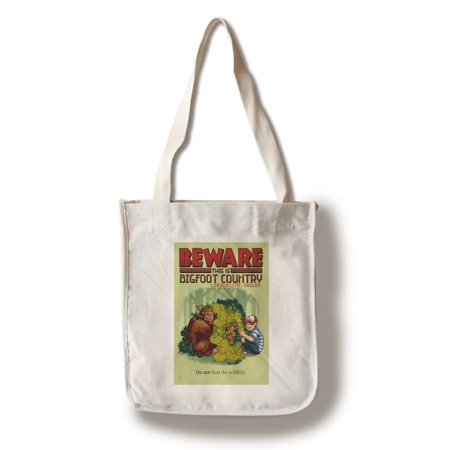 Lincoln City, Oregon - Bigfoot Country - Do Not Feed the Wildlife - Lantern Press Artwork (100% Cotton Tote Bag - Reusable) ()
