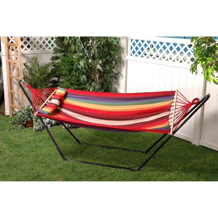 Bliss Hammocks Oversized Fabric Single Hammock With Spreader Bar And Pillow