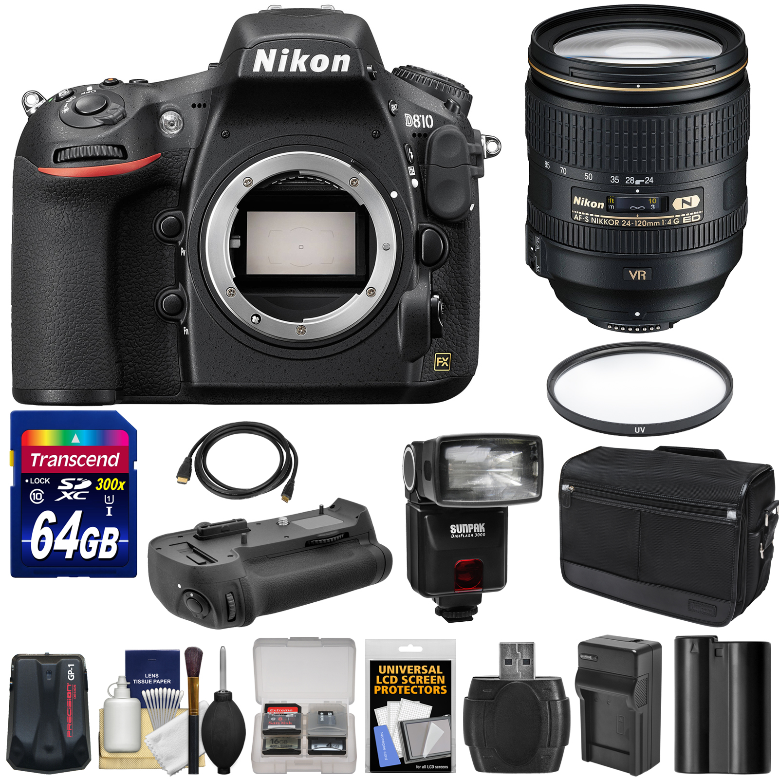 Nikon D810 Digital SLR Camera & 24-120mm f 4 VR Lens with 64GB Card + Case + Flash + Grip + Battery + GPS Unit... by Nikon