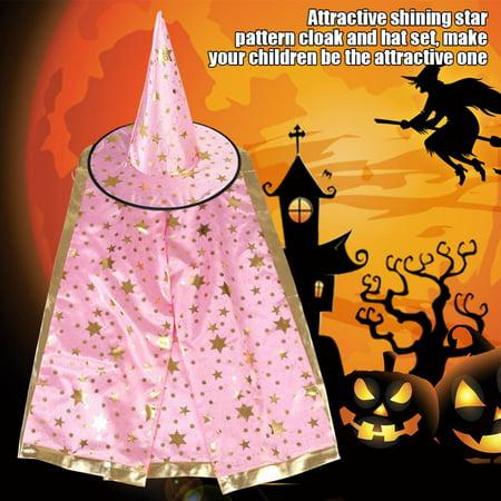 Halloween Witch Wizard Cloak Hat Set,Kids Children Witch Wizard Cloak Hat Set Shinng Stars Pattern for Halloween Cosplay