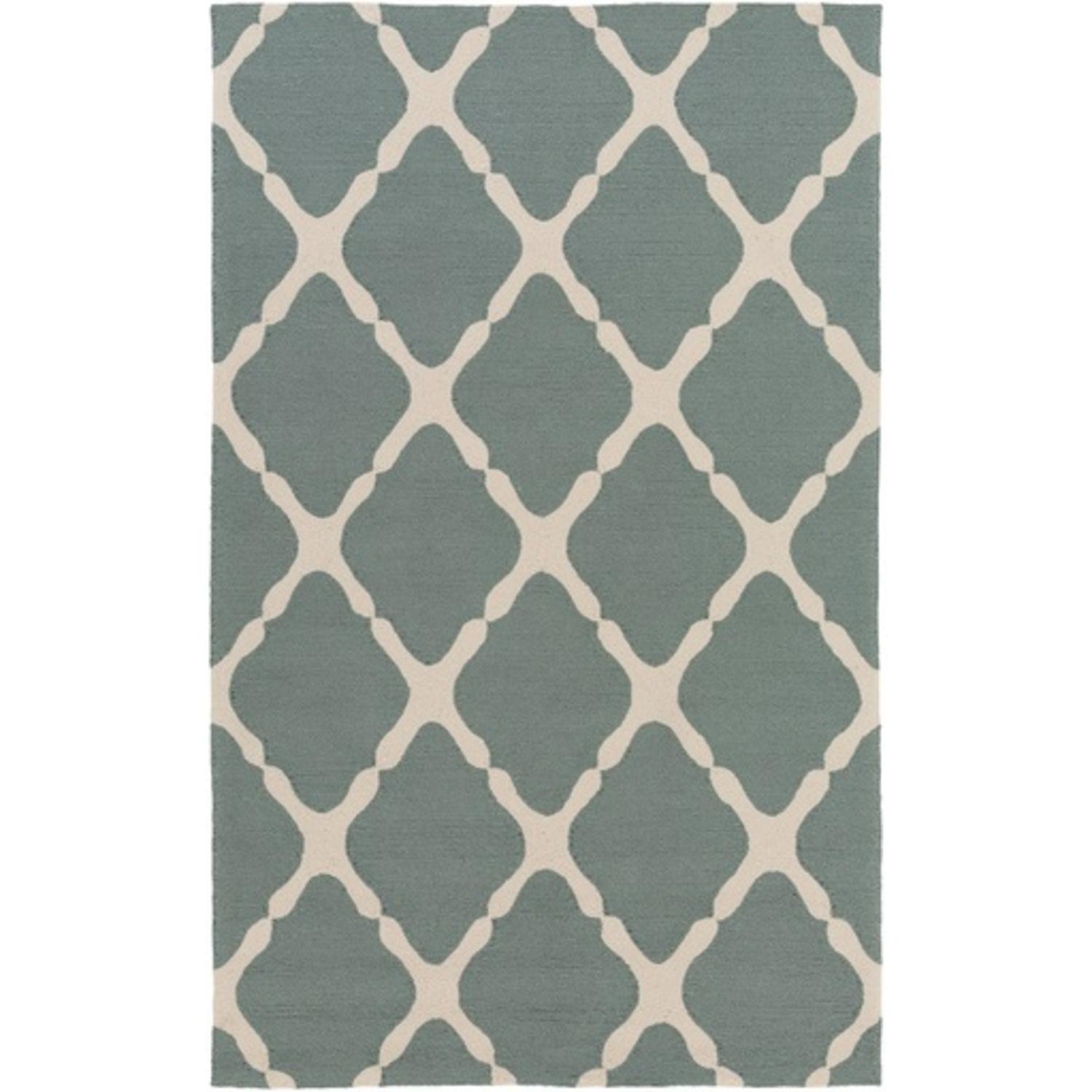 2' x 3' Mending Fences Moss Green and Light Gray Hand Hooked Area Throw Rug