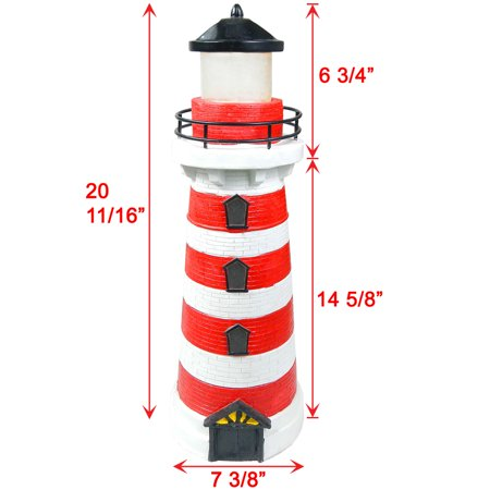 iGlow Outdoor Red Solar Lighthouse with 2 Amber LED Landscape Light Path Lamp Deck Patio Driveway Garden (Two Lights Lighthouse)