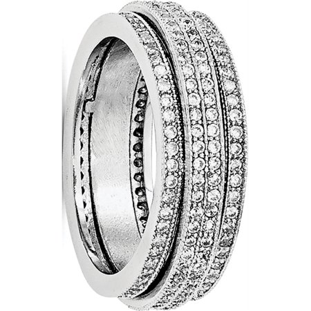 Sterling Silver Polished Rhodium-plated Pav? Eternity Motion Ring - image 3 of 3