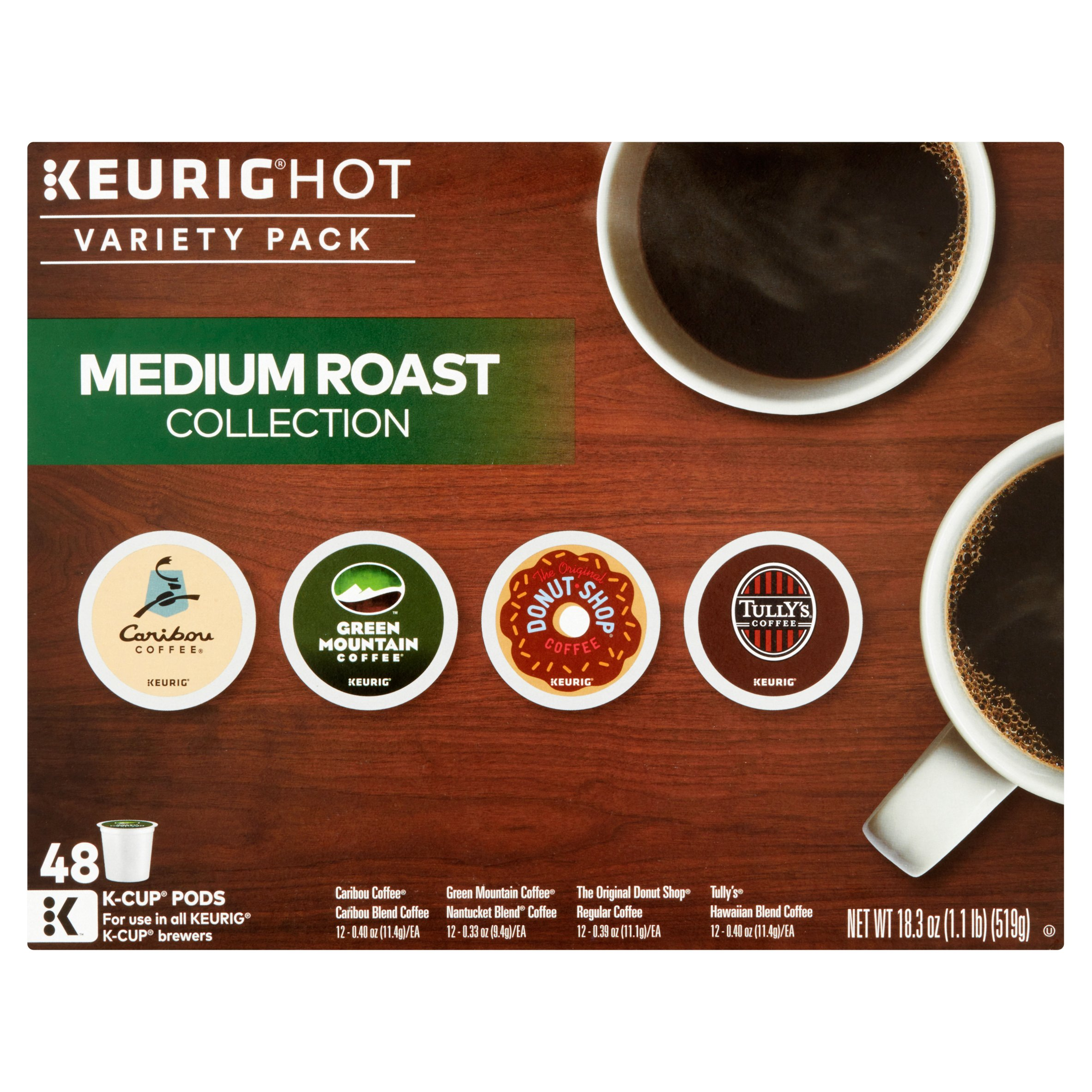 keurig hot variety pack medium roast collection kcup pods 48count 183 oz