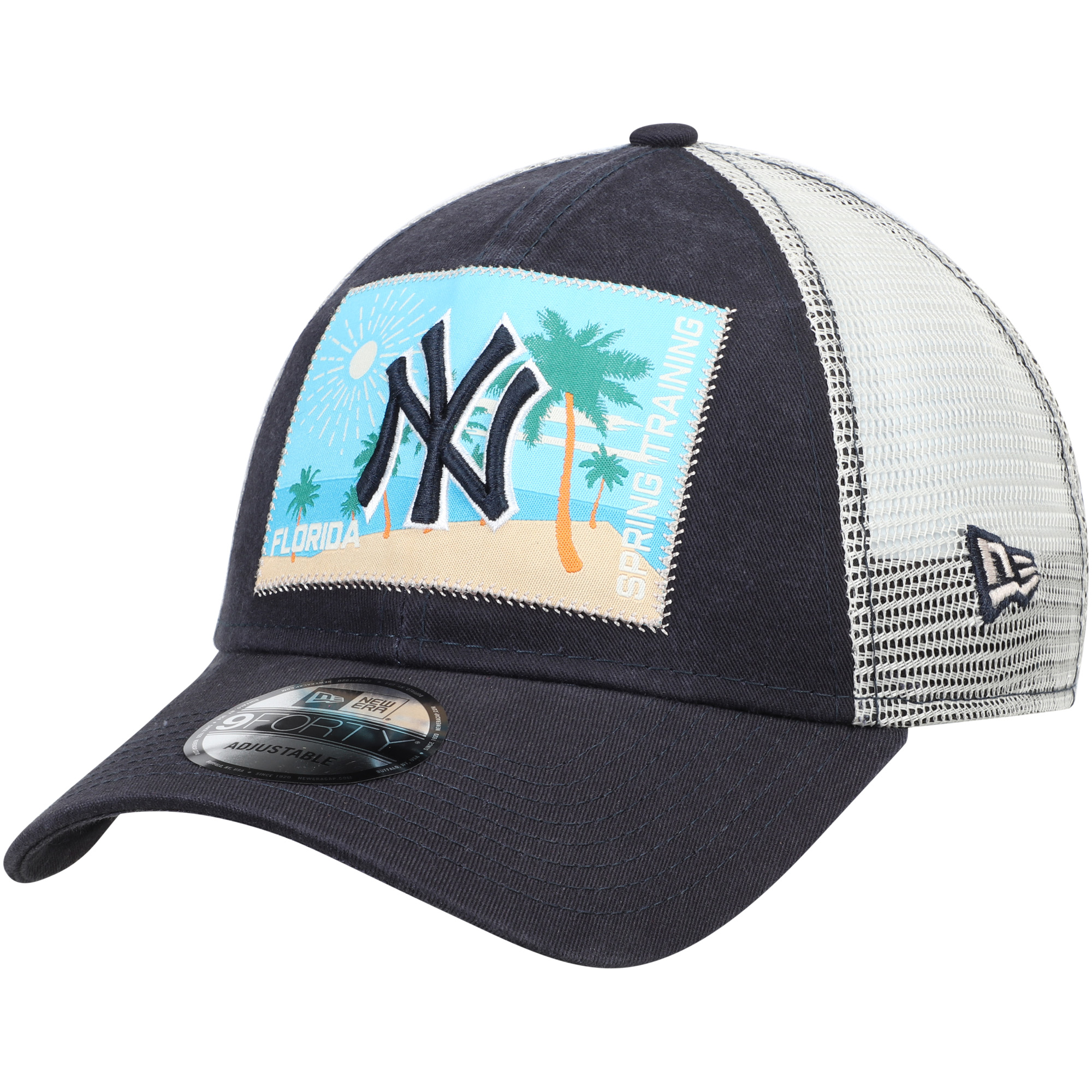 New York Yankees New Era Patched Trucker 3 9FORTY Adjustable Snapback Hat - Navy/White - OSFA