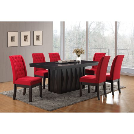 Riley 7 Piece Dining Set, Cappuccino Wood & Red Fabric, Transitional, 71