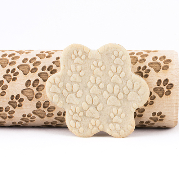 Portable Embossed Rolling Pin Heart Pattern Fondant Pastry Cake Decor Tool N#@W