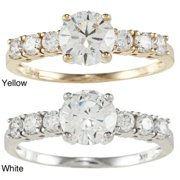 Dimaya 14k Yellow or White Solid Gold 1 1/4ct TGW Round Cubic Zirconia 7-Stone Engagement Ring