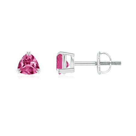 Sapphire Trillion Earrings - September Birthstone Earrings - Double Claw-Set Trillion Pink Sapphire Stud Earrings in 14K White Gold (4mm Pink Sapphire) - SE1094PS-WG-AAAA-4