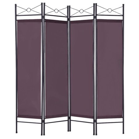 4 Panel Room Divider Privacy Folding Screen Home Office Fabric Metal Frame Brown Folding Frame Screen