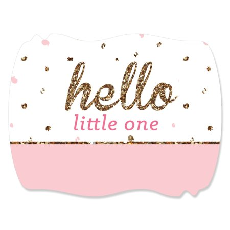 Hello Little One - Pink and Gold - Girl Baby Shower Squiggle Sticker Labels (1 Sheet of 16)