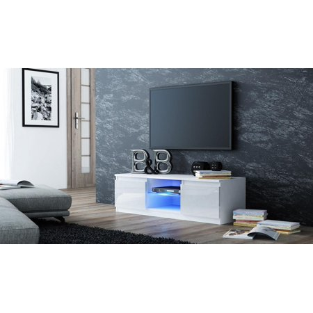 Ktaxon High Gloss TV Stand Unit Cabinet LED Light Shelves Living Room TV Stand Cabinet White ()