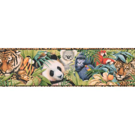 Tiger Monkey Panda Koala Parrot Jaguar Beautiful Animal Wallpaper Border Modern Design, Roll 15' x 6.75'' - image 3 de 3