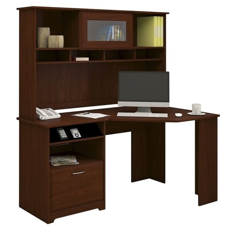 "Bush Cabot 60"" Corner Desk with Hutch in Harvest Cherry"