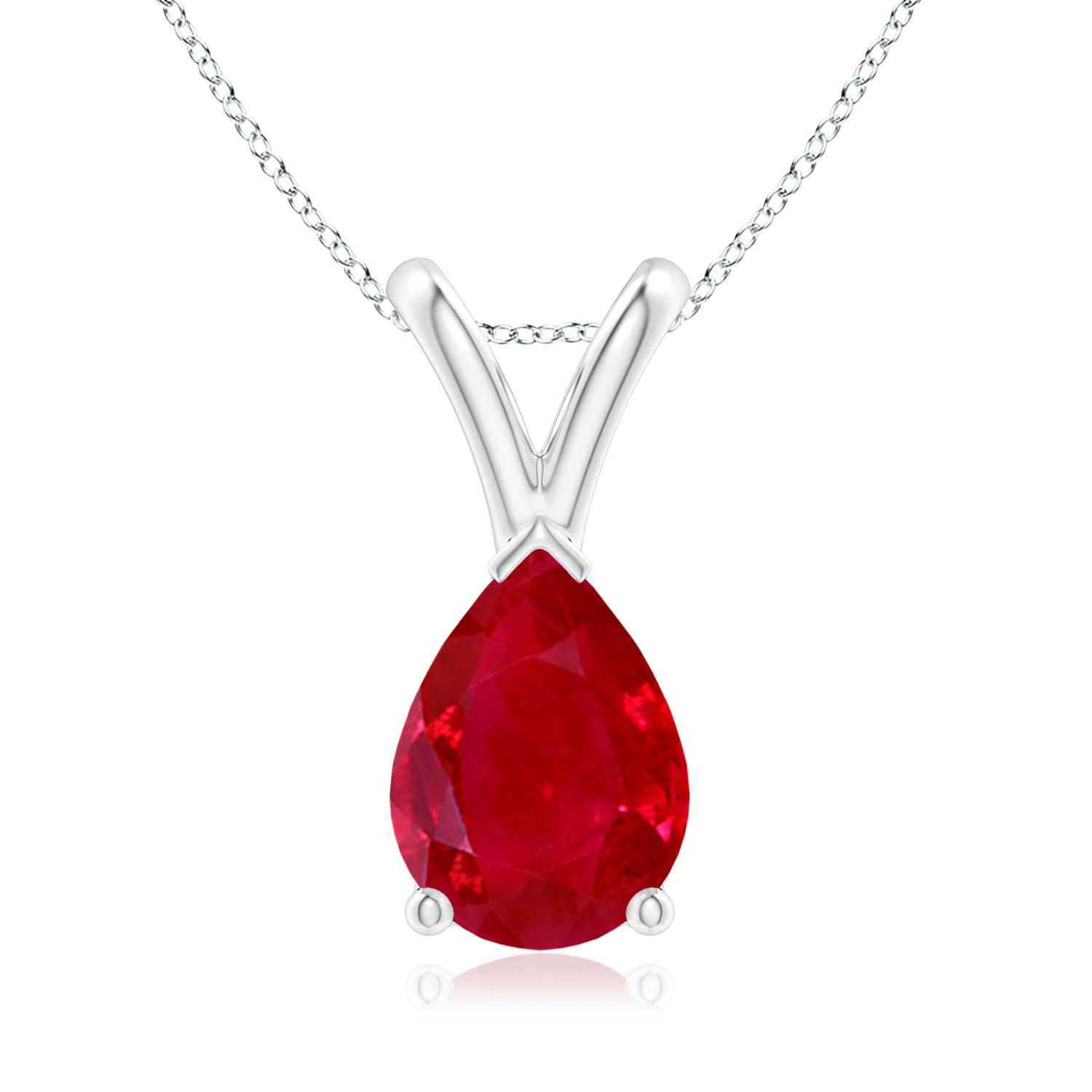 Angara Natural Ruby Pendant in Platinum - July Birthstone Necklace OSdiTSgNBK