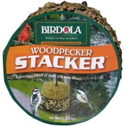 Birdola Woodpecker Stacker Cake Contain black oil sunflower, mixed tree nuts, white proso millet, cracked corn and peanuts