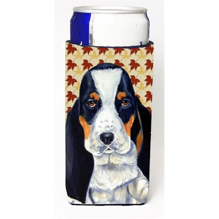 Carolines Treasures LH9104MUK Basset Hound Fall Leaves Portrait Michelob Ultra s for slim cans - image 1 of 1