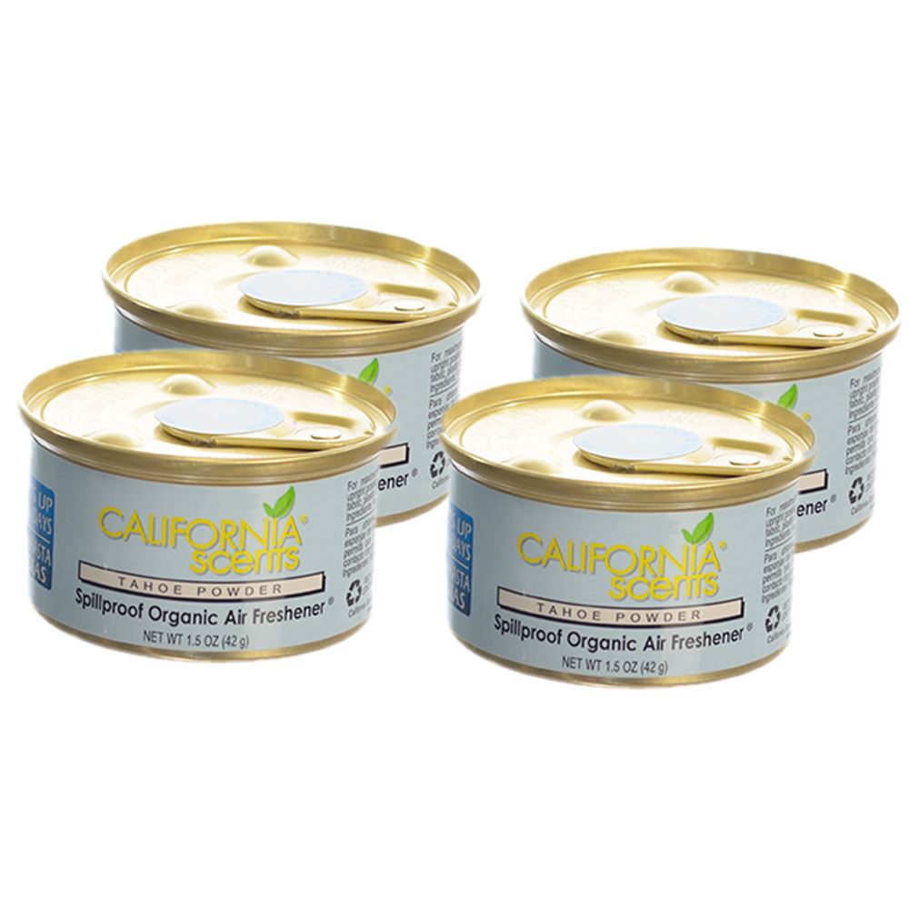 California Scents Spillproof Organic Air Fresheners 1.5 oz Can, Tahoe Powder-4PK