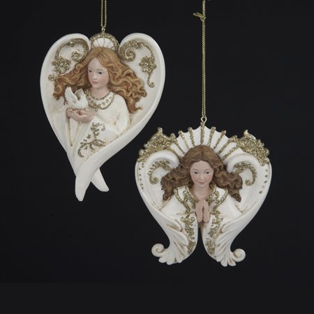 pack of 12 winters blush ivory and gold glitter angel christmas ornaments