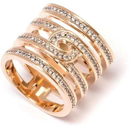 Round-Cut CZ 18kt Gold-Tone Ring