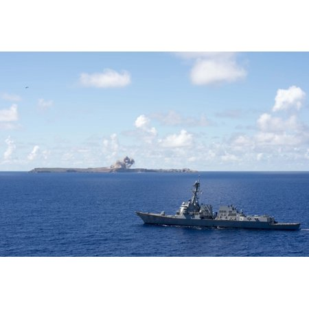 Canvas Print The guided-missile destroyer USS Spruance (DDG 111) steams in the Pacific while a B-52 bombers, assi Stretched Canvas 10 x 14 (Spruance Destroyer)