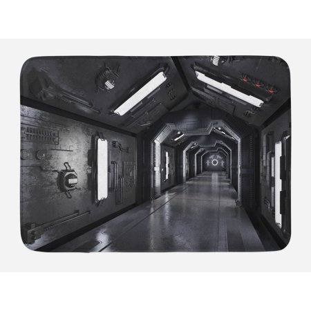 Outer Space Bath Mat, Dark Futuristic Corridor of Spaceship Adventure Technology Sci Fi Art Prints, Non-Slip Plush Mat Bathroom Kitchen Laundry Room Decor, 29.5 X 17.5 Inches, Dark Grey,