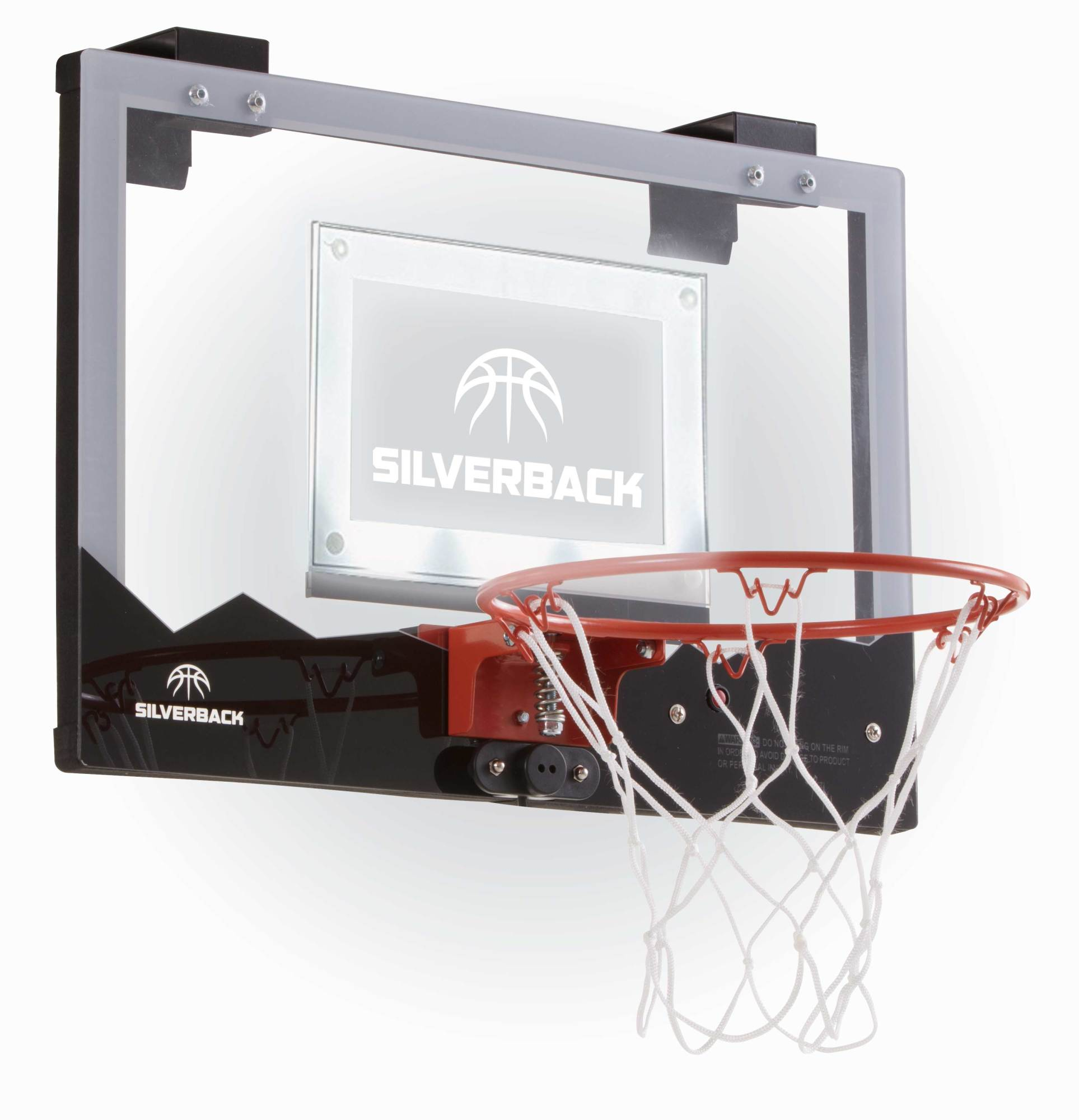 "Silverback LED Light-Up Over the Door Mini Basketball Hoop - 18"" - Includes Mini Basketball and Air Pump"