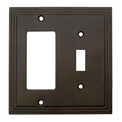 (cosmas 25077-orb oil rubbed bronze single toggle / gfi decora rocker combo wall switch plate switchplate cover)