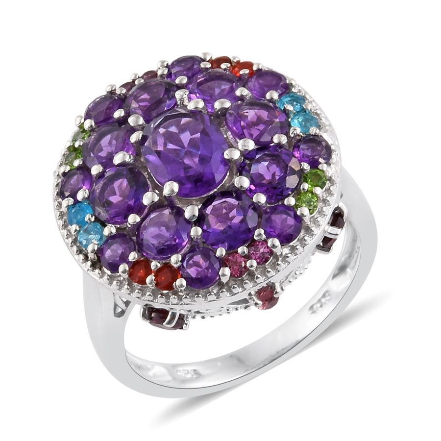 Amethyst, Multi Gemstone Platinum Plated Silver Cluster Ring 5.54 cttw. by Shop LC
