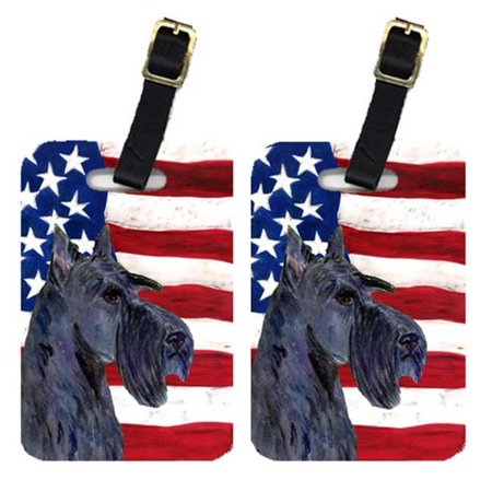 Carolines Treasures SS4014BT Pair Of USA American Flag With Scottish Terrier Luggage Tags - image 1 of 1