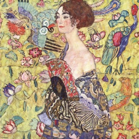 Lady with Fan Poster Print by Gustav Klimt (12 x 12)