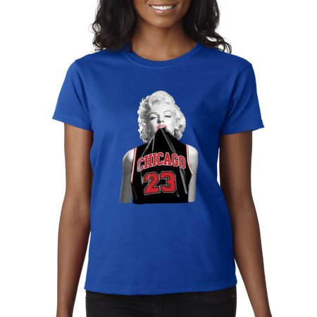 Trendy USA 445 - Women's T-Shirt Marilyn Monroe Chicago 23 Jordan Jersey Small Royal - Blue And Grey Jordans