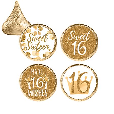 Sweet Sixteen Ideas For Winter (White and Gold 16th Birthday, Sweet Sixteen Party Favor Stickers, 324)