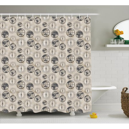 Compass Shower Curtain World Map Pattern With Aged Background