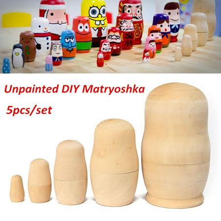 5 PCS Unpainted DIY Craft Blank Wooden Embryos Russian Nesting Dolls Matryoshka Stacking Toy Gift 5 (Matryoshka 5 Piece)