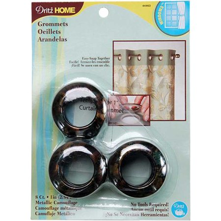Dritz Home Curtain Grommets. 8 Grommets - Makes one panel. 1 inch 2.54 cm. Tortoise Shell Camo