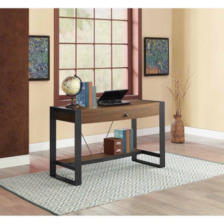 Whalen Santa Fe Writing Desk with Center Drawer, Warm Ash Finish