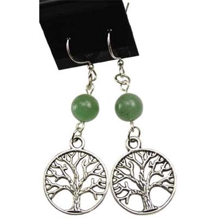 RBI Fortune Telling Toys Spiritual Supplies Green Aventurine Tree of Life Earrings