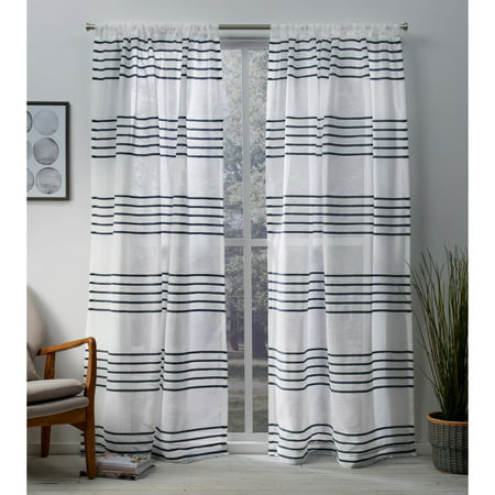 Exclusive Home Curtains 2 Pack Monet Pleated Sheer Linen Cabana Stripe Rod Pocket Curtain -